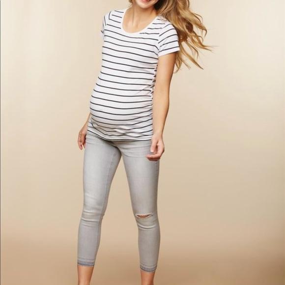 207529972c4af Motherhood Maternity Jeans | Maternity Side Panel Skinny Leg Crop ...